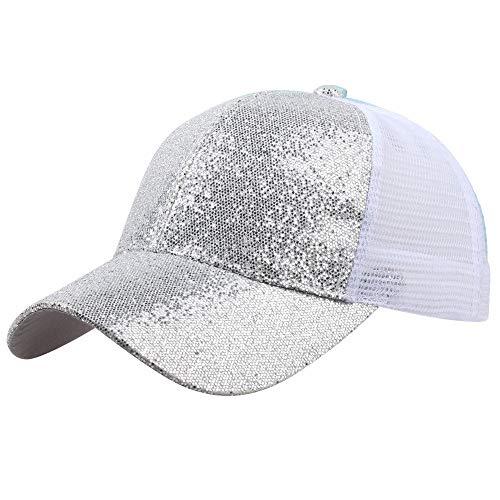 Gorra de Beisbol para Mujer niña Cola de Caballo Gorra de béisbol Lentejuelas Shiny Messy Bun Snapback Hat Sun Caps Fiesta Plegable Sombrero de Sol Color Sólido Playa Vacaciones riou