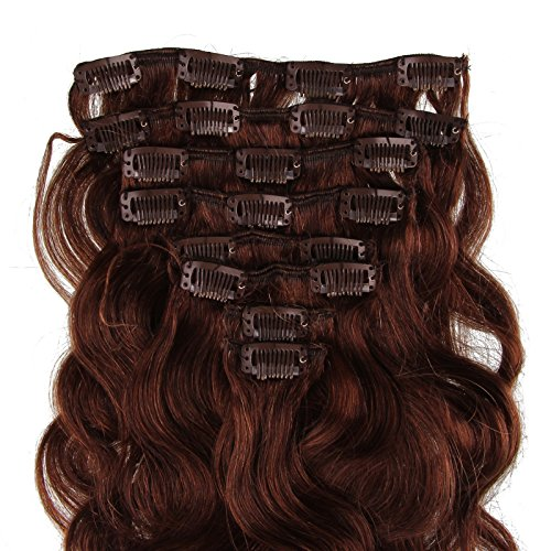 Beauty7 Extension de Cheveux a Clips Ondule Naturel Remy Humain Cheveux Boucle Body Wave 8 Pcs/Poids 120g 20inch (50cm) Couleur Chocolate Marron #4