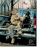SRongmao Ducks Unlimited Forever Friends Black Lab Hunt Cabin Wall Decor Metal Tin Sign 8x12in
