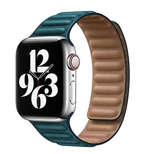 ZLRFCOK Correa de cuero para Apple Watch Band 44mm 40mm para iWatch 38mm 42mm watchabnd Magnetic Loop smartwatch pulsera Seires 6 SE 5 4 3 Correa de reloj