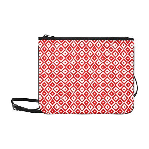 WYYWCY Wiederholte rote Figuren auf weißem Custom High-Grade Nylon Slim Clutch Bag Cross-Body Bag Umhängetasche