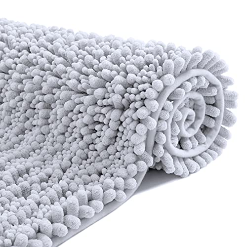 DEXI Badematte,Chenille rutschfest Badezimmerteppich 50 x 80 cm,Weicher Badvorleger Maschinenwaschbar,Mikrofaser Absorbent Badteppich für Badezimmer,Hellgrau