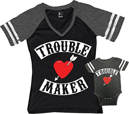 Trouble Maker Mom Shirt Black & Trouble Kids Baby Boy Matching Set (Mom Black/Boy Heather Gray, Mom Small/Baby 18M)