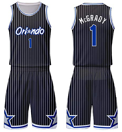 XUANXAI Männer Basketball Trikot Toronto Raptors 1# Tracy McGrady Orlando Magic Basketball Swingman Trikot 90S Hip Hop Kleidung Sportswear-Black-XXXXL