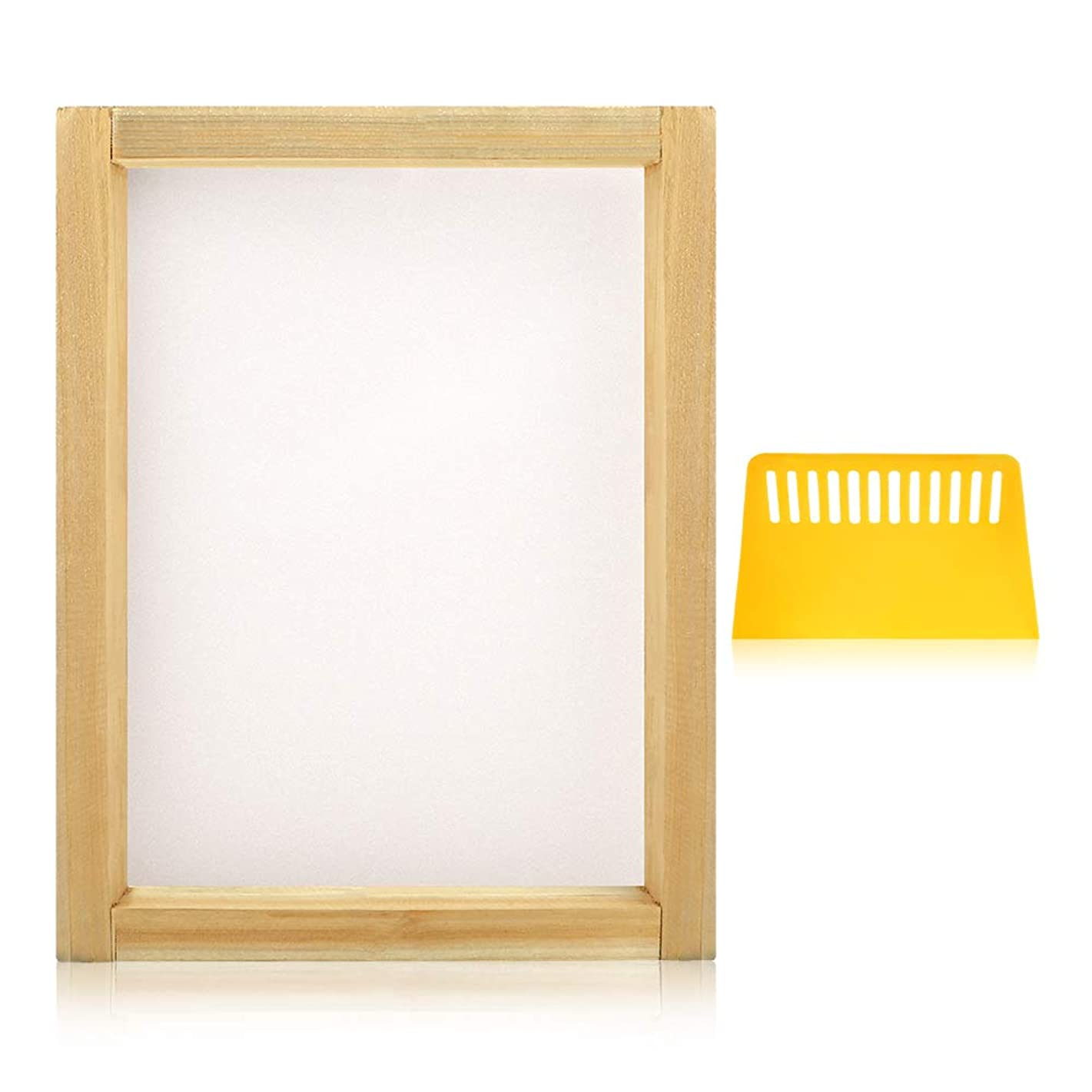 Caydo 1 Piece 8 x 10 Inch Wood Silk Screen Printing Frames with 110 White Mesh and 1 Piece Plastic Scraper