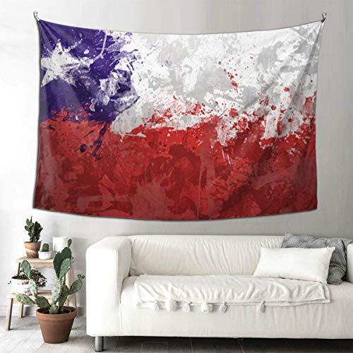 N\A Tapiz bohemio para colgar en la pared, diseño de bandera de Chile con impresión en 3D, decoración de habitación india, misterioso tapiz, toallas de playa