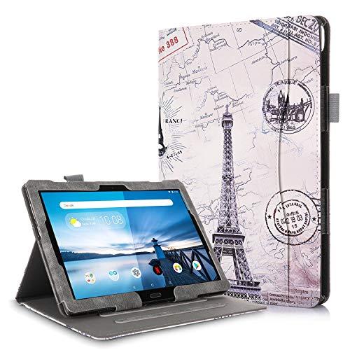 TTVie Hülle für Lenovo Tab M10 / P10 - PU Lederhülle Schutzhülle Cover Tasche mit Stylus-Halterung für Lenovo Tab M10 / P10 25,5 cm (10,1 Zoll FHD IPS Touch) Tablet-PC, Karte Turm