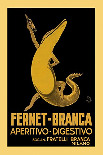 "Fernet Branca Crocodile Alligator Drink Milan Italy Italia Italian Vintage Poster Repro 16"" X 20"" Standard Image Size for Framing. We Have Other Sizes Available!"