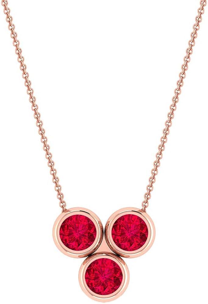 2.5 MM Unique Ruby Necklace, Three Stone Pendant Necklace, Gold Bezel Set Necklace