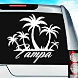 Tampa Florida Palm Trees Vinyl Decal Sticker Bumper Cling for Car Truck Window Laptop MacBook Wall Cooler Tumbler | Die-Cut/No Background | Multi Sizes/Colors, 8-Inch, White