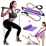 Jsbeuith Pilates Bar Kit with Resistance Band Yoga Pilates Stick Muscle Toning Bar Home Gym Workout Exercise Bar with Foot Loop for Total Body Workout Stretch, Sculpt, Twisting, Sit-Up (Purple)