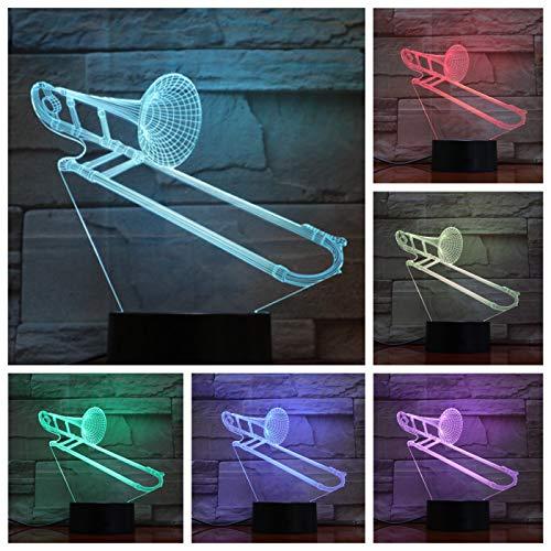 Nur 1 Stück Posaune USB 3d Led Nachtlicht Multicolor Rgb Jungen Kind Kinder Baby Geschenke Musikinstrument Luminaria Tischlampe Nachttisch Neon