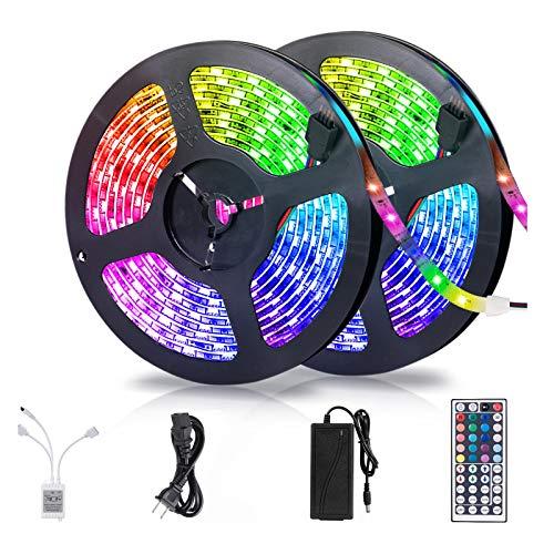 LED Strip Lights, 32.8ft RGBW LED Light Strip with 44 Keys IR Remote and 12V Power Supply Flexible Color Changing Lights 300 LEDs Light Strips Kit for Home, Bedroom, Kitchen, Cabinet & DIY Decoration