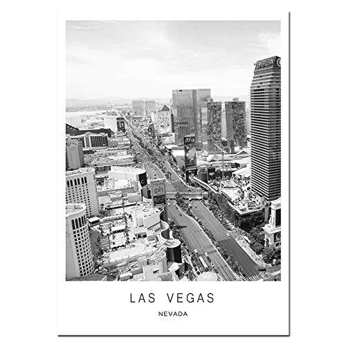 ZJMI Impresión De Lienzo,El Paisaje De La Ciudad De Las Vegas, Poster Cuadros Decoración De Pared Impresión Lienzo De Arte Moderno Salón Pintura para La Decoración del Hogar Sin Marco