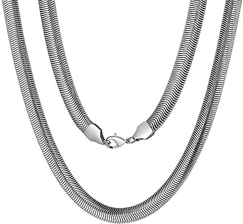 Adramata 6MM Cadenas Planas Serpiente Collar Herringbone Acero Inoxidable Plateado/Dorado/Negro Joyería Mágica Italiana Collares para hombres y mujeres 40/45/50/55/60/65/70/75CM Largo