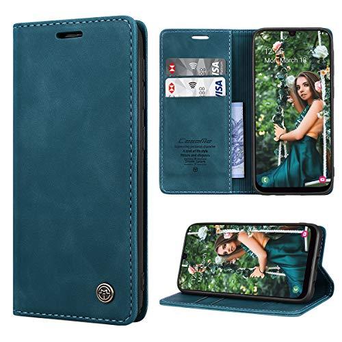 RuiPower Handyhülle für Samsung Galaxy A50 Hülle Premium Leder PU Flip Hülle Wallet Lederhülle Klapphülle Magnetisch Silikon Bumper Schutzhülle für Samsung Galaxy A50/ A30S/ A50S Tasche - Blaugrün