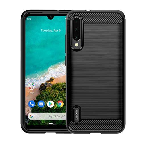 J Jecent Cover Xiaomi Mi A3, Custodia in Fibra di Carbonio Morbido TPU Antiscivolo Case Protezione Antiurto per Xiaomi Mi A3 - Nero