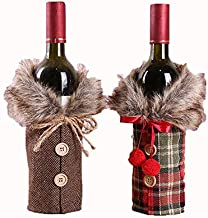 2pcs Christmas Sweater Wine Bottle Cover, Newest Collar & Button Coat Design Wine Bottle Sweater Wine Bottle Dress Sets Xm...