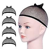 Gorras de Peluca, URAQT Redecilla Peluca 4 Piezas, Casquillo para Pelucas de Nylon Elástico, Redecillas de Pelo Peluca de Nylon para Mujeres y Hombres(Negro Malla, 4piezas)