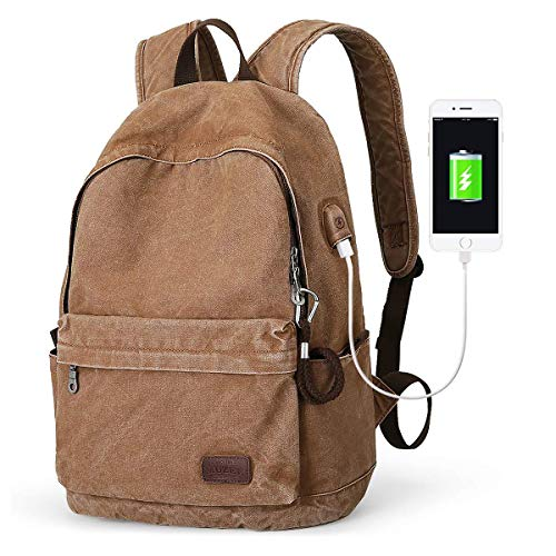Muzee Canvas Backpack with USB Charging Port for Men Women, Lightweight Anti-Theft Travel Daypack College Student Rucksack Backpack Fits up to 15.6 inch Laptop Backpack,Khaki