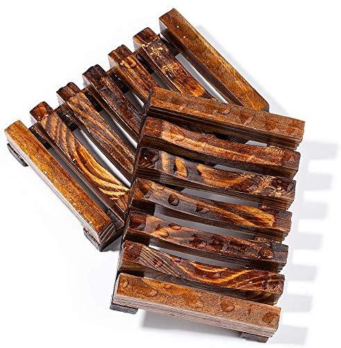 Voarge 2 Stück Seifenschale Holz Dusche, Natürliche Bambus Seifenkiste Seifen Box Für Seife Scrubber Schwämme, Dusche rechteckige Waschbecken Abtropffläche Hand Craft für Seife