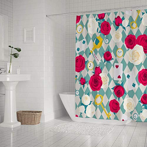 Kuizee Shower Curtain Waterproof Roses Card Key Clock Alice in Wonderland Blue Bath Curtains Polyester Decor Bathroom 60×72Inch Water-Repellent Bath Curtain Easy Install