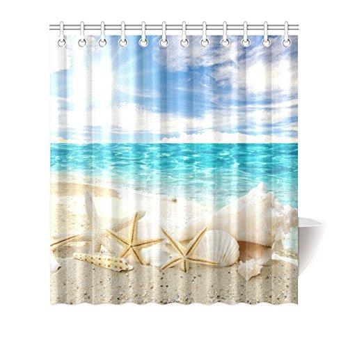 """Generic Starfish Shell On Beach Blue Sea Sky Custom Shower Curtain 66"""" x 72"""" Bath Curtain"""
