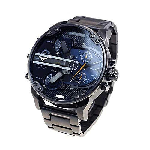 Fenkoo Herrenuhr Quarz Sportuhr Kalender Dual Time Zone Edelstahl Uhr montre reloj relogio (schwarz / blau)
