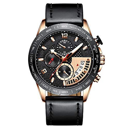 Voigoo Herren-Lederband Uhr Mode Herrenuhr Luxury Business Luminous wasserdicht Quarz-Uhr-Mann-Relogio Masculino