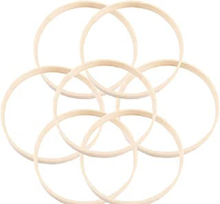 LIOOBO 10pcs Wooden Bamboo Dreamcatcher Rings Hoops Round Hoops Macrame Rings for Dream Catcher DIY Craft 23cm/9inch