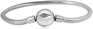 MiniJewelry Women Girls Ball Clasp Snake Chain Slider Stainless Steel Charms Bracelets fit European Standard Charms Beads ...