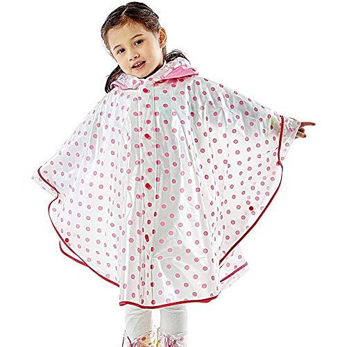 MMJS Impermeable para niños y niñas, lindo Rainponcho al aire libre senderismo estudiante con cortavientos cubierto, rojo, L