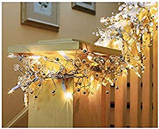 GE 9 ft Glitter Gem Garland Christmas Holiday Decoration Lights with 100 Constant On Clear Bright Indoor Lights White Wire (1 box (100 lights))