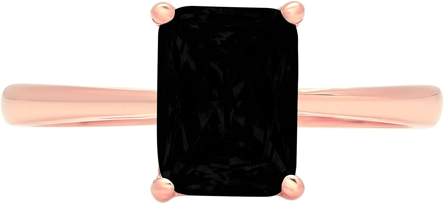 1.9ct Brilliant Emerald Cut Solitaire Flawless Genuine Natural Black Onyx Ideal VVS1 4-Prong Engagement Wedding Bridal Promise Anniversary Designer Ring Solid 14k Rose Gold for Women