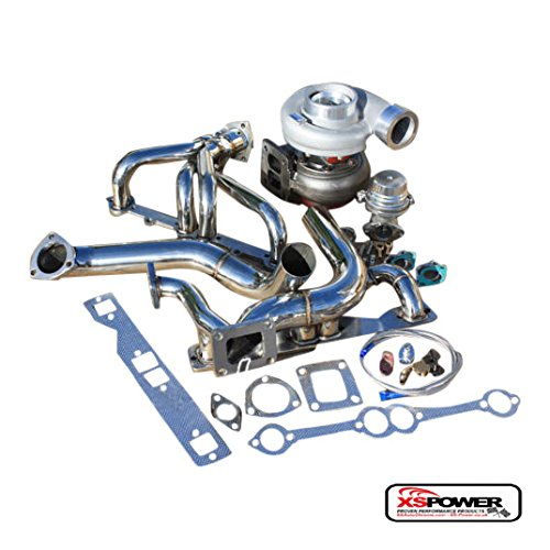 XS-Power SBC SMALL BLOCK SB CHEVY GT45 SINGLE TURBO SETUP MANIFOLD KIT WASTEGATE OIL LINE