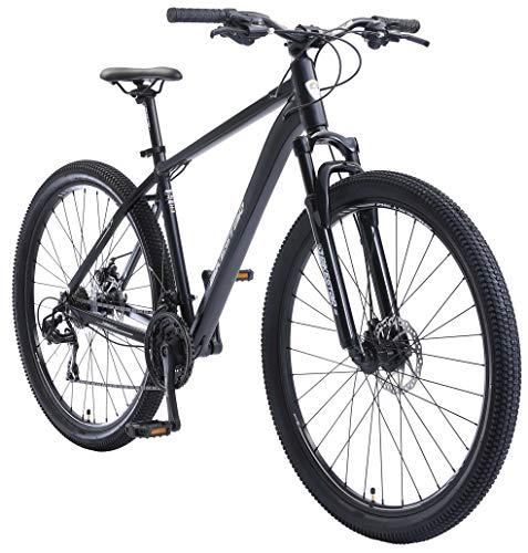 BIKESTAR Hardtail Mountain Bike in Alluminio, Freni a Disco, 29' | Bicicletta MTB Telaio 19' Cambio Shimano a 21 velocità, sospensioni | Blu Bianco