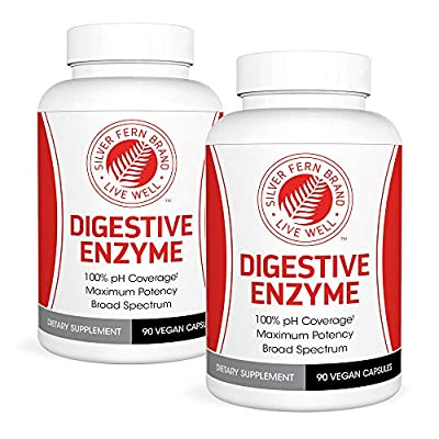 Silver Fern Brand Ultimate High Potency Digestive Enzyme Supplement - 2 Bottles - 100% Intestinal Coverage - Maximum Digestive Comfort - Improve Food Tolerability