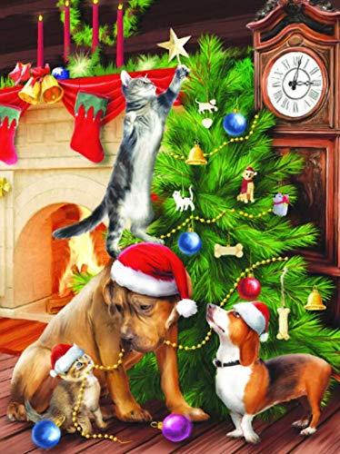 YXLY Weihnachtsbaum Und Hund-1000-Stück - Spiele Für Erwachsene, Puzzle - Memoryee World Szenen Puzzles Für Erwachsene - Puzzles Die Hölzernen, Pädagogischen Puzzlesets Für Die Familie