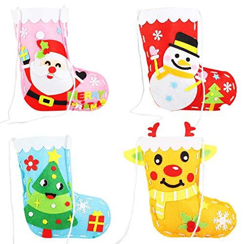 Calcetines Navidad 4pcs Navidad Calcetin Costura artesanal para niños, Árbol de Navidad/Reno/Santa/Muñeco de nieve Conjunto de medias de Navidad Kit de costura de fieltro DIY para niñas Niños Niños