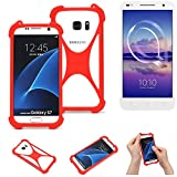 K-S-Trade® Handyhülle Für Alcatel U5 HD Dual SIM Schutzhülle Bumper Silikon Schutz Hülle Cover Case Silikoncase Silikonbumper TPU Softcase Smartphone, Rot (1x)