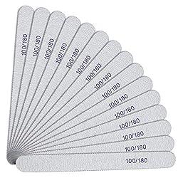 URAQT 15 Stück Nagelfeilen 100/180 Grit, Nagelfeilen Doppelseitige, Doppelseitige Einweg Nagelfeile, Nagelfeilen für Gelnägel, Nagelfeilen Einweg, Kern in Lila