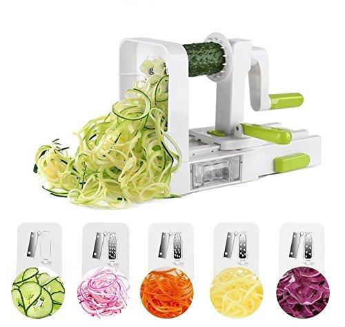 DELCRIMO Faltbarer Spiralschneider für Gemüsespaghetti mit 5 Edelstahl-Klingen und Saugnapf geeignet für Zucchini-Spaghetti & Zoodles