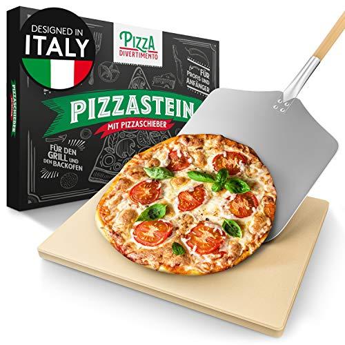 Pizza Divertimento Pierre à pizza pour four - Avec pelle à pizza bois - Pierre pizza en cordiérite - Pour base croustillante et garniture juteuse