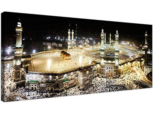 Large Islamic Canvas Wall Art Prints of Muslim Hajj Pilgrimage to Kabba in Mecca at Night - 1190 - Wallfillersby Wallfillers