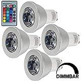 MENGS4 Stück 3W RGB LED Reflektorlampe GU10 LED Farbige Licht