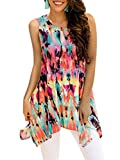 Luranee Bohemian Tops for Women, Sleeveless Blouses Ladies Flowy Tunic Tank Top Comfy Shirts with Crew Neck Irregular Hem Trapeze Tunics Cool Stretchy Colorful Summer Fall Clothes Rainbow 2XL