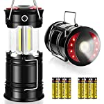 AKMONA Camping Lantern, 2 Pack with 8 Batteries High Lumens LED Lanterns Battery Powered, Suitable for Hurricane… 8 Super Bright & Large Area Brightness. 360-degree covered lighting with top spotlight provides high visibility to meet large area brightness. 4 lighting modes. Collapsible COB LED Lantern. Flashlight. Red Warning Light(Strobe & SOS light). The lantern is a vital filed survival tool and camping accessories. Long Last Run Time. Using 3*AA batteries (Included) as power supply enables it can be continuously used for a long time, which brings you to light for a long time to fulfill your needs. Energy-saving and suitable for camping, power outage, night fishing & hunting, emergency usage, hurricane and survival kit, etc. Novel Design, Metal Handle, And Magnet Base. Collapsible design (by pushing and pulling the handle) can turn on or close the lantern. A metal portable lantern can be used as a flashlight, vertical lift as a lantern, and can hangit on trees or others. 3 Strong magnets on the base can be adsorbed on any metal surface to free your hands.
