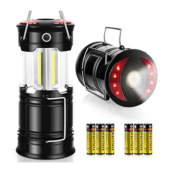 AKMONA Camping Lantern, 2 Pack with 8 Batteries High Lumens LED Lanterns Battery Powered, Suitable for Hurricane… 1 Super Bright & Large Area Brightness. 360-degree covered lighting with top spotlight provides high visibility to meet large area brightness. 4 lighting modes. Collapsible COB LED Lantern. Flashlight. Red Warning Light(Strobe & SOS light). The lantern is a vital filed survival tool and camping accessories. Long Last Run Time. Using 3*AA batteries (Included) as power supply enables it can be continuously used for a long time, which brings you to light for a long time to fulfill your needs. Energy-saving and suitable for camping, power outage, night fishing & hunting, emergency usage, hurricane and survival kit, etc. Novel Design, Metal Handle, And Magnet Base. Collapsible design (by pushing and pulling the handle) can turn on or close the lantern. A metal portable lantern can be used as a flashlight, vertical lift as a lantern, and can hangit on trees or others. 3 Strong magnets on the base can be adsorbed on any metal surface to free your hands.
