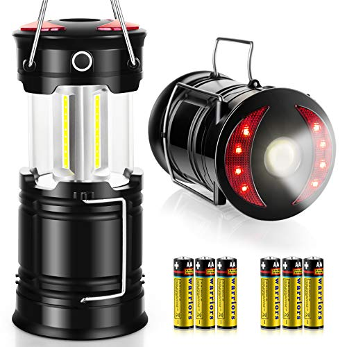 AKMONA Camping Lantern, 2 Pack High Lumens LED Lanterns Battery Powered, 4 Light Modes with Flashlight, Suitable for Hurricane, Emergency Light, Storm, Outages, Camping, Fishing, Include 6 Batteries