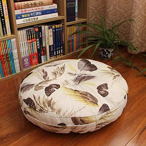 LILAODA Almohada redonda desmontable para meditación, suave, engrosada, japonesa, de lino, para sofá, cojín de meditación, cojín de 40 cm